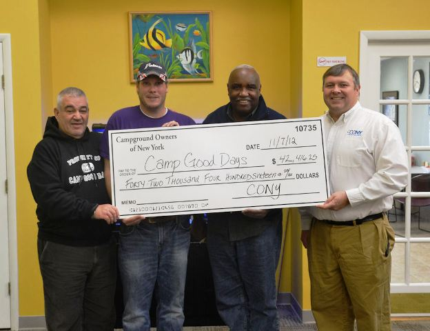 Left to Right: Gary Mervis, Chairman and Founder of Camp Good Days; Matt Anderson, CONY Region 1 Director, Camp Chautauqua; James McCauley, Jr., Camp Good Days PAVE Director; and Don Bennett, Jr., CONY President and CEO. Anderson and Bennett visited the Camp Good Days office on November 7th to deliver additional donations sent in during and after the CONY Exposition.