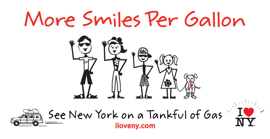 I LOVE NEW YORK has some timely news for summer travelers: you can have an amazing and affordable vacation in your own backyard on just a single tank of gas! I LOVE NEW YORK is launching its 2011 campaign, More Smiles Per Gallon, which features ways for travelers within driving distance of New York State to enjoy affordable getaways on a tank of gas.