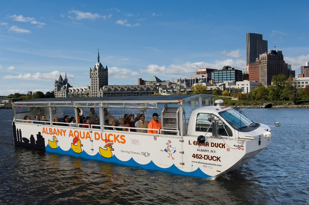 At the Albany Visitor' s Center hop aboard the Albany Aqua Duck, an amphibious vehicle that tours the city's historic neighborhoods and then splashes down into the Hudson River! (Photo: Darren McGee, NYS Dept. of Economic Development)