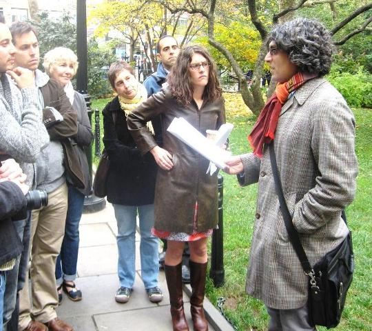 Kazim Ali leads a Poets Forum walking tour.