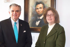 Teresa Mitchell is pictured meeting with U.S. Secretary of Transportation Ray LaHood to discuss the National Scenic Byways Program.