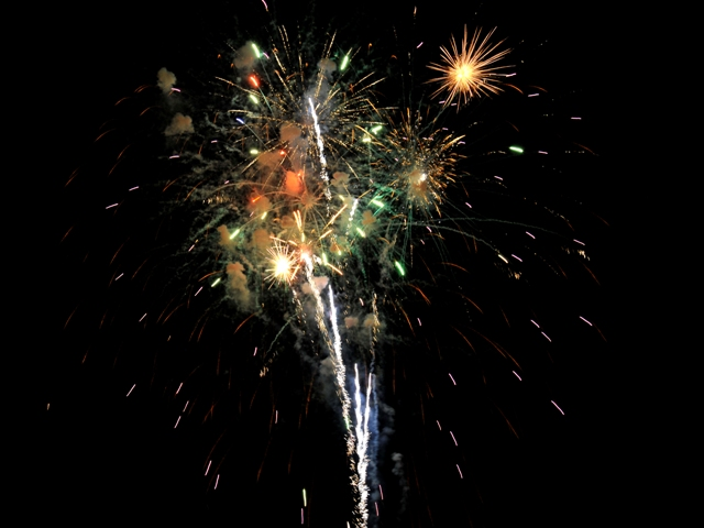 Fireworks shoot skyward during last year's 4th of July celebration in Kingston. This year's event will take place on the historic Rondout waterfront in downtown Kingston on Wednesday, July 4th, from 6PM-10PM. Photo credit: Anita Defina Hadley