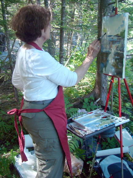 Watercolor artist Evelyn Dunphy painting