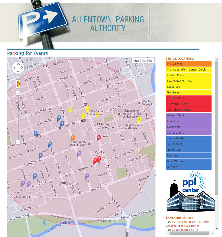 AllentownEventParking.com is a real time parking site