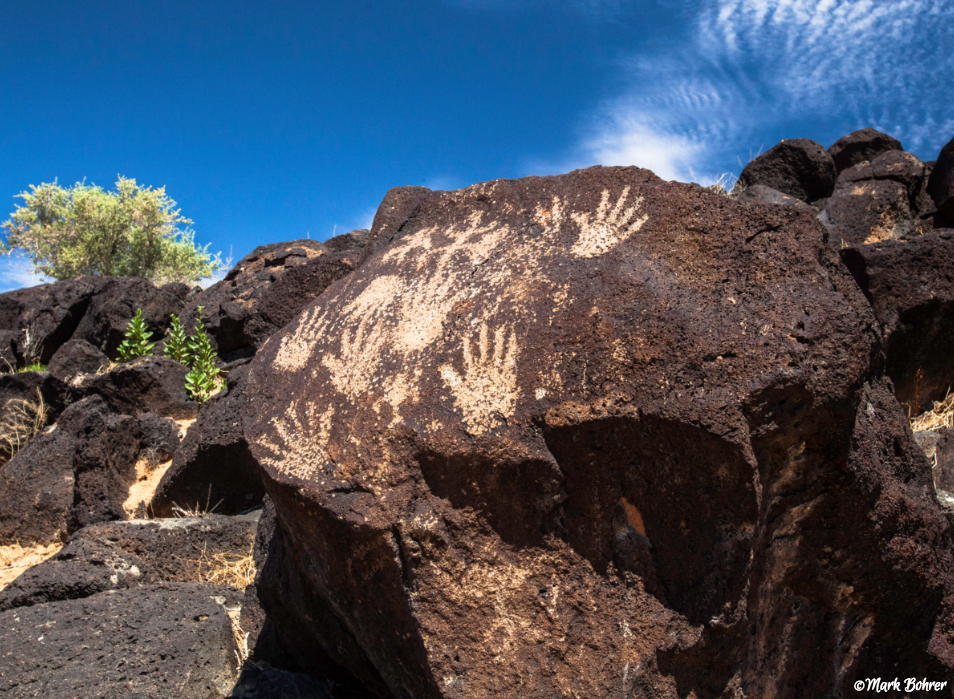 Hand prints at Petroglyph National Monument in Albuquerque, New Mexico