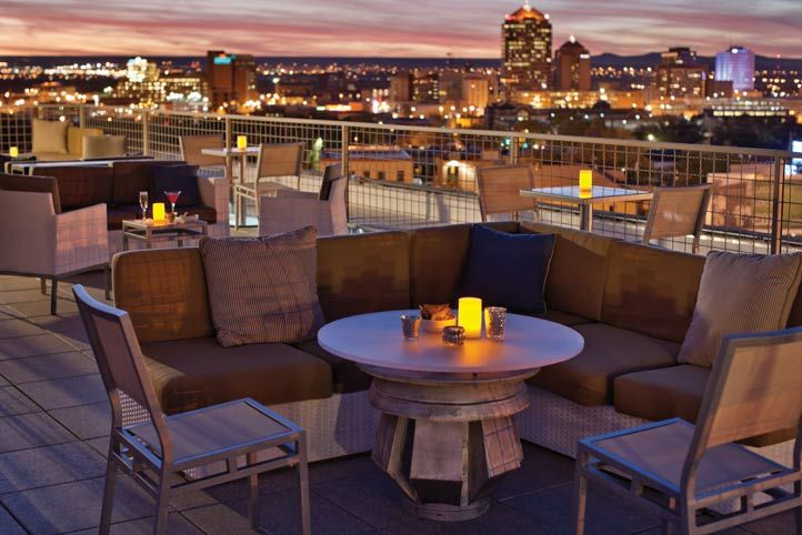 The view from the Apothecary Lounge rooftop bar at Hotel Parq Central in Albuquerque