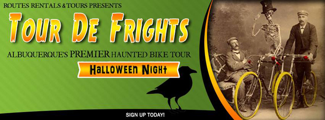 Routes Rentals Haunted Bike Tour on Halloween in Albuquerque