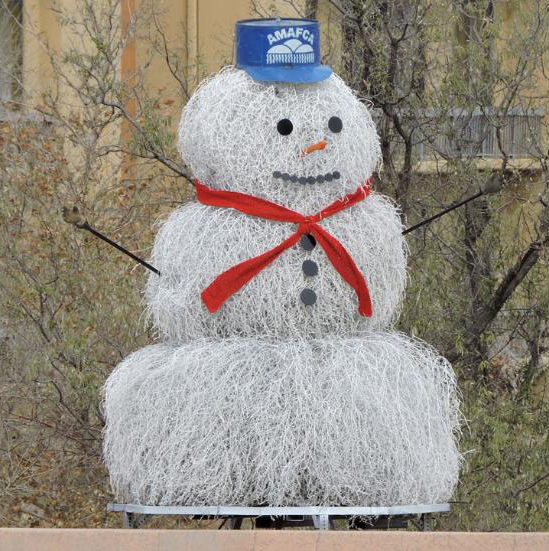 Tumbleweed snowman in Albuquerque, New Mexico