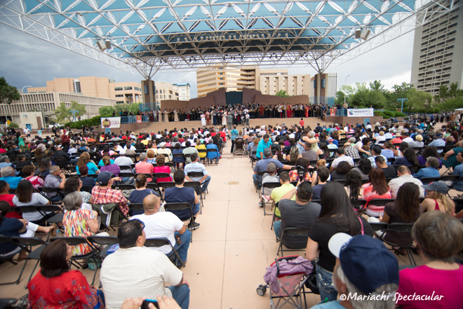 Mariachi Spectacular student showcase on Civic Plaza in Downtown Albuquerque