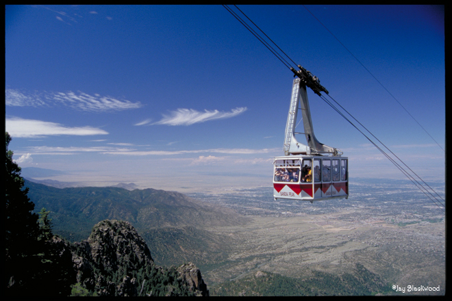 Sandia Peak Tramway over looking Albuquerque