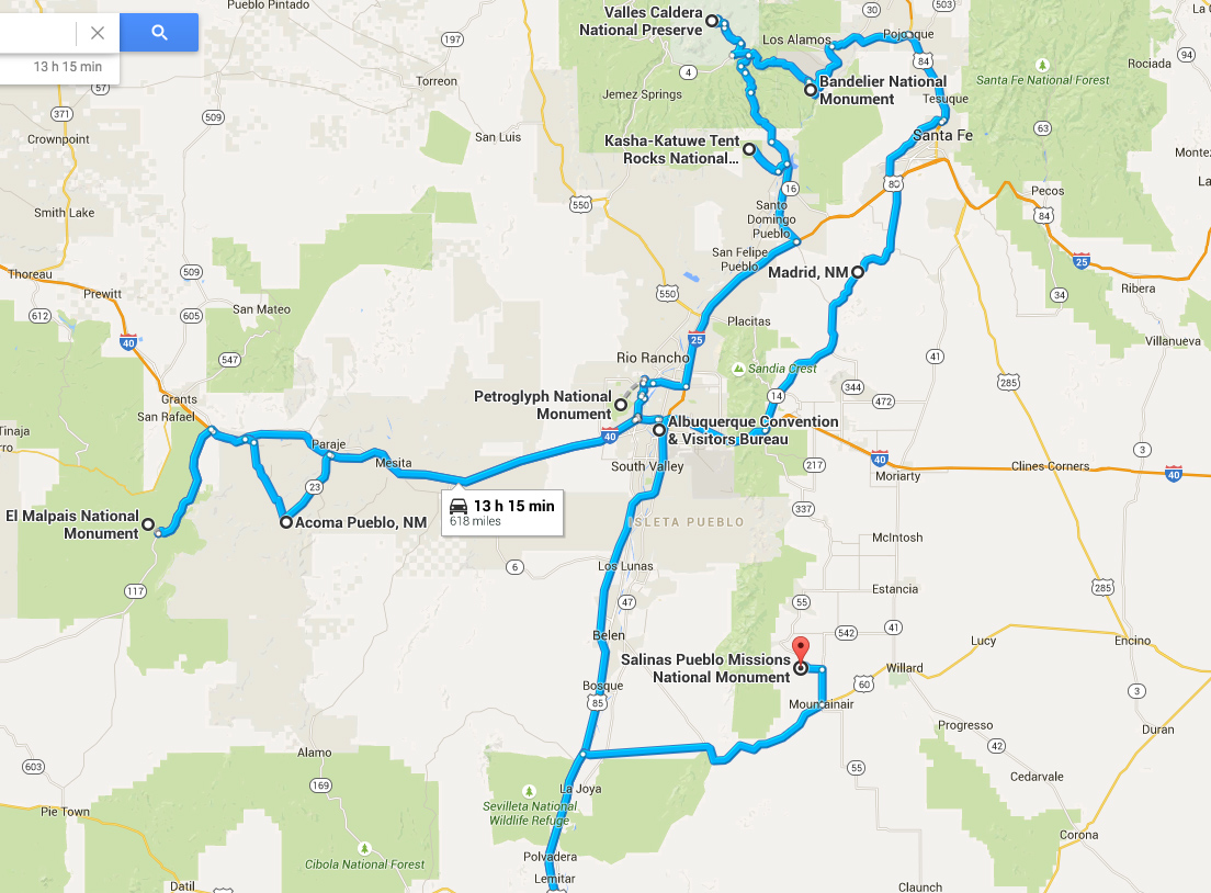 Map of day trips from Albuquerque