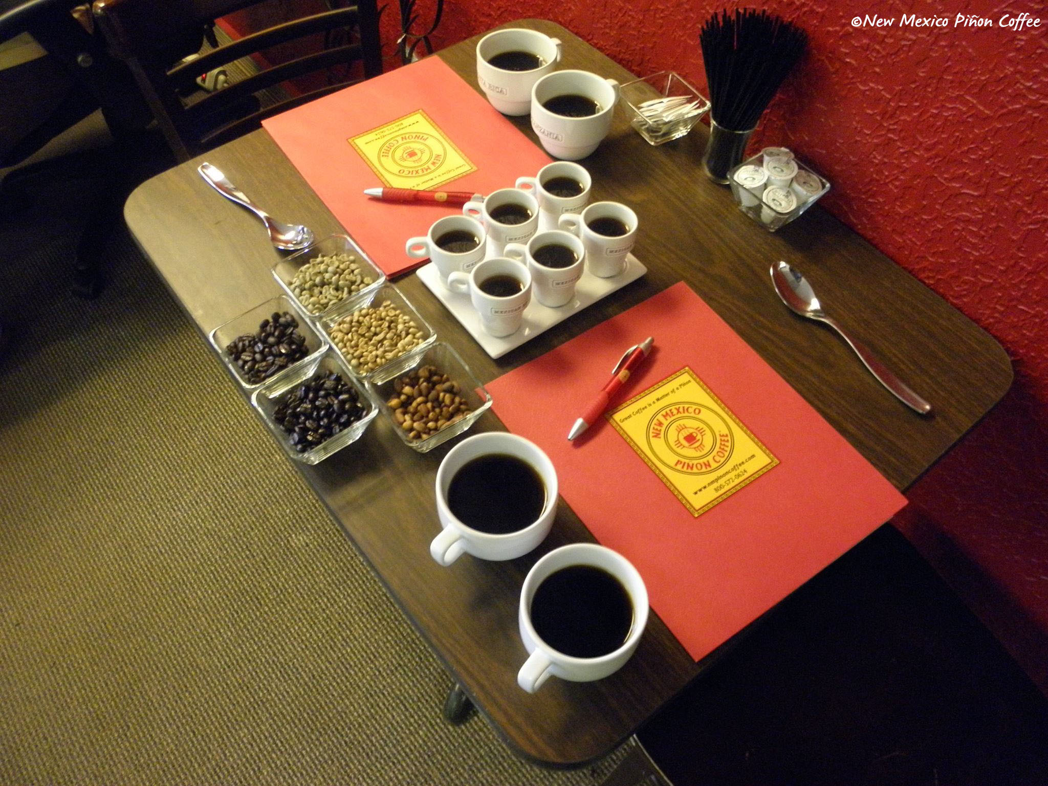 New Mexico Piñon Coffee tasting display