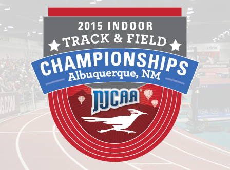 Official event banner for the 2015 NJCAA Indoor Track & Field Championships in Albuquerque