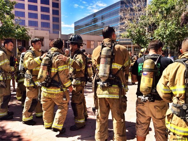 Firefighters at Civic Plaza in Albuquerque