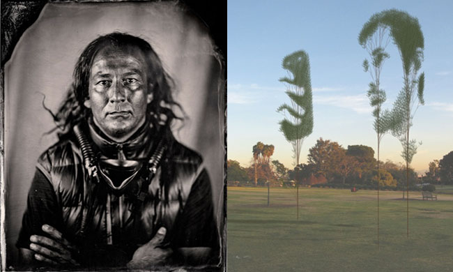 Left: Work of Santa Fe-based artist, William Wilson; Right: Work of Javier Villegas