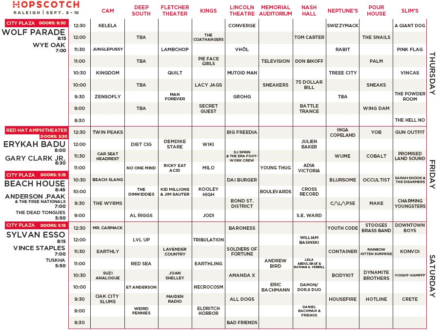 2016 Hopscotch Music Festival Schedule