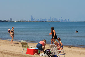 Chicago Skyline - Whihala Beach, Whiting, Ind.