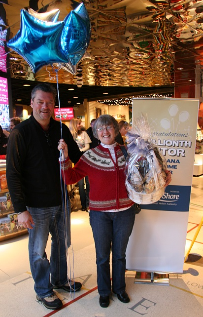 Spero and three millionth visitor, Janette Patterson