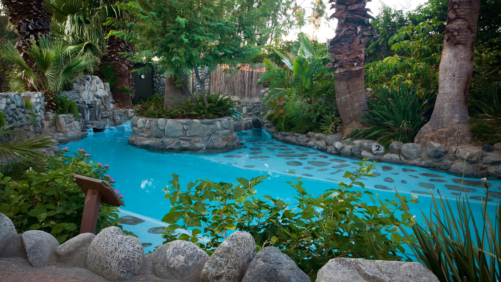 The Grotto hot springs pool at Two Bunch Palms in Desert Hot Springs