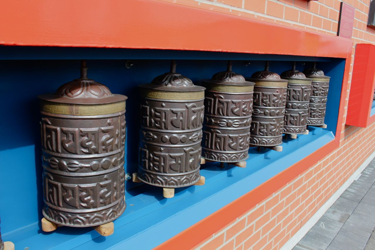 Thrangu Monastery prayer wheels
