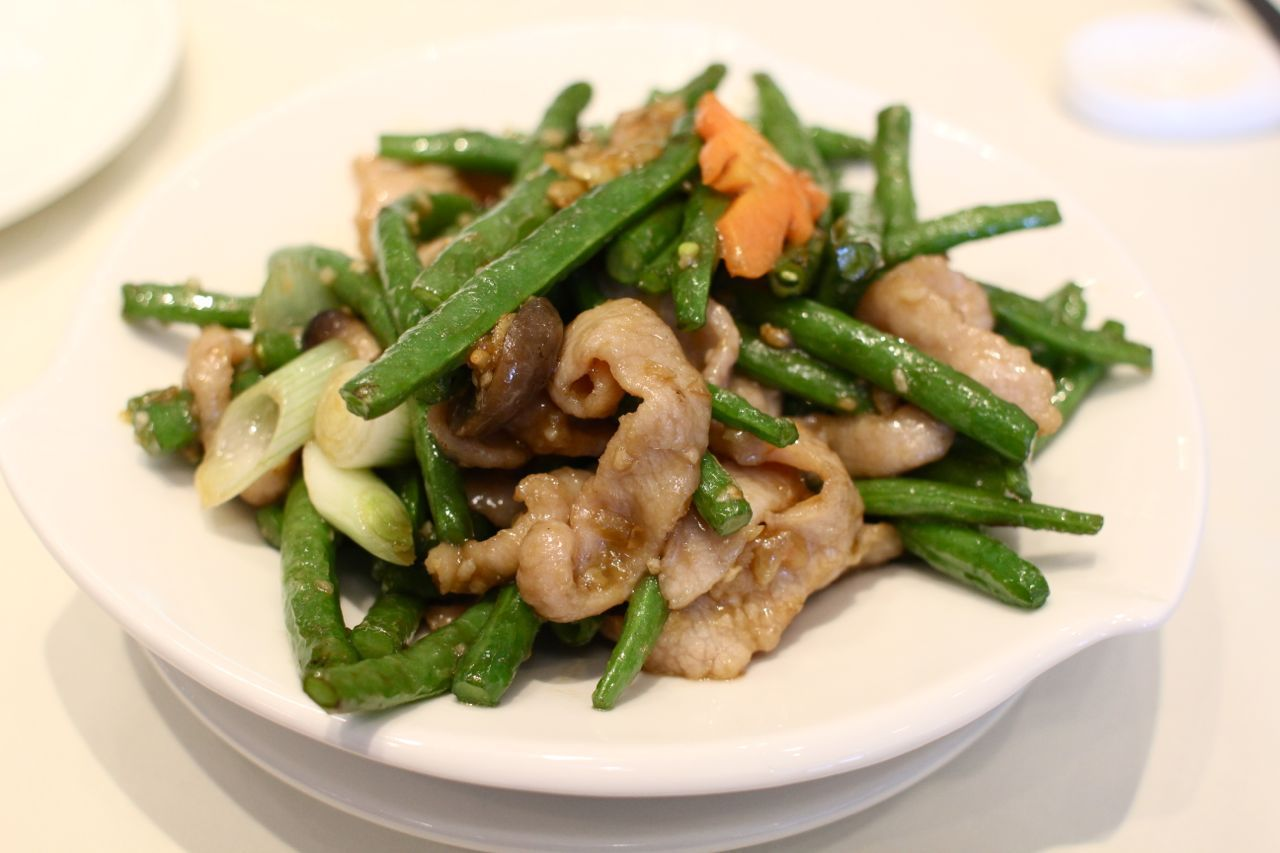pan fried pork with green beans and XO sauce