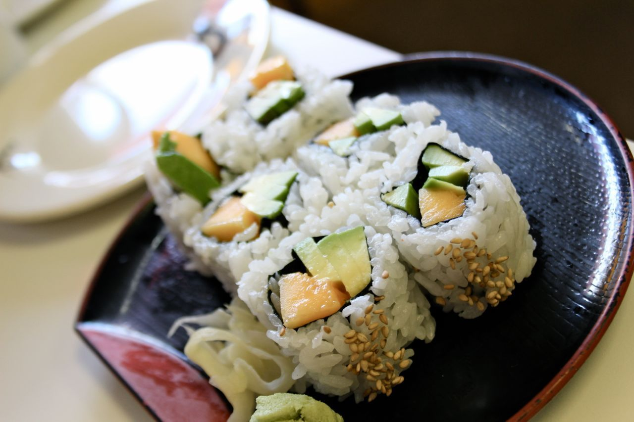 Papaya and avocado roll; Photo Credit: Lindsay Anderson