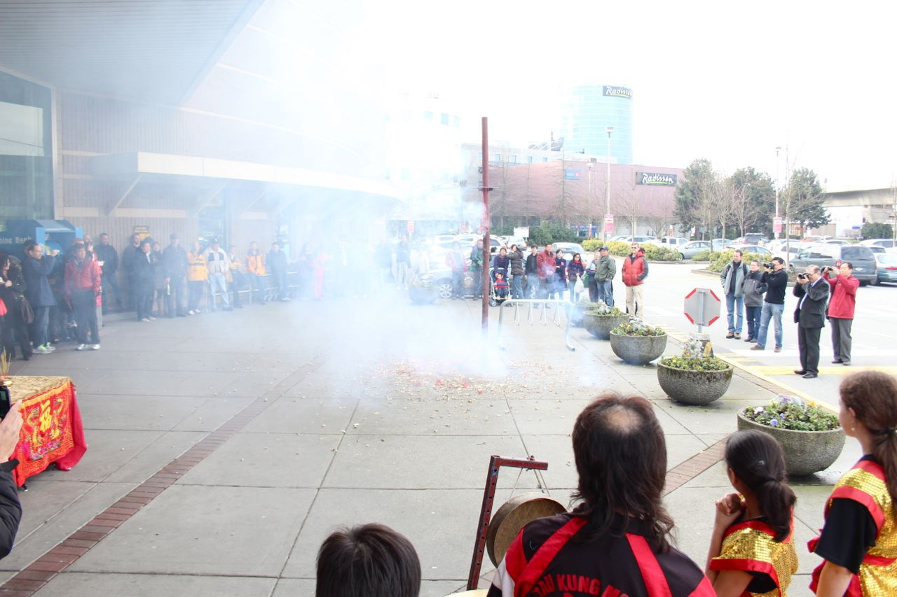 lighting of firecrackers at Yaohan Centre