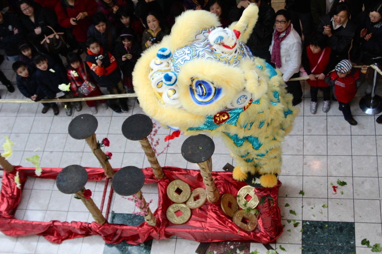 lion dance at Yaohan Centre