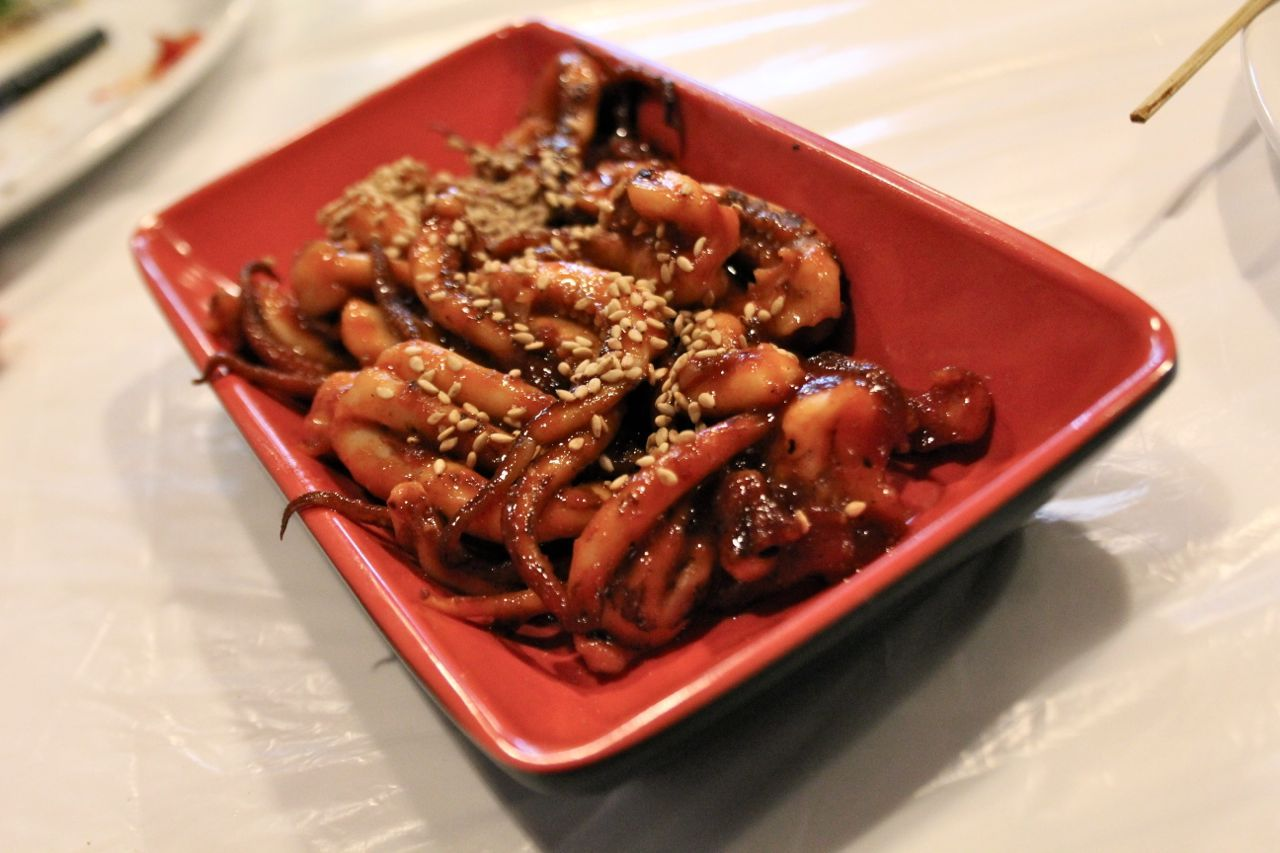 squid with Korean chili oil