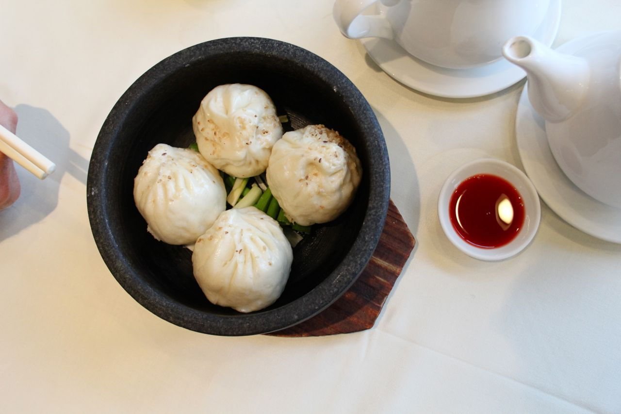 pork and chive dumplings in stone pot at Empire Seafood Restaurant