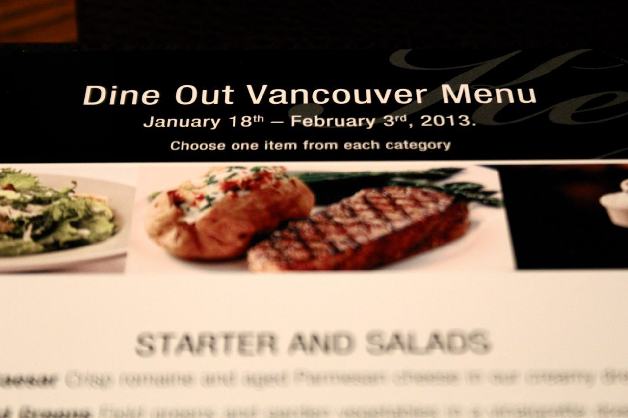 The Keg Dine Out menu