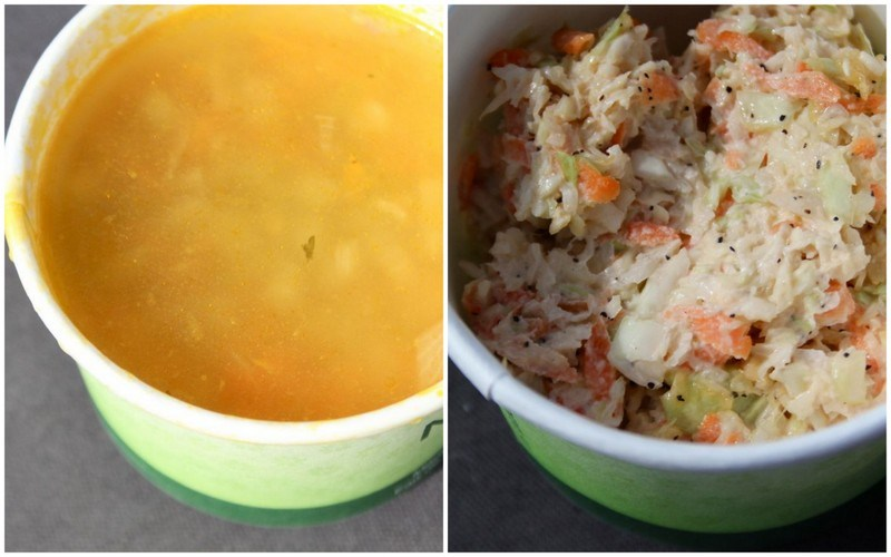 soup and coleslaw