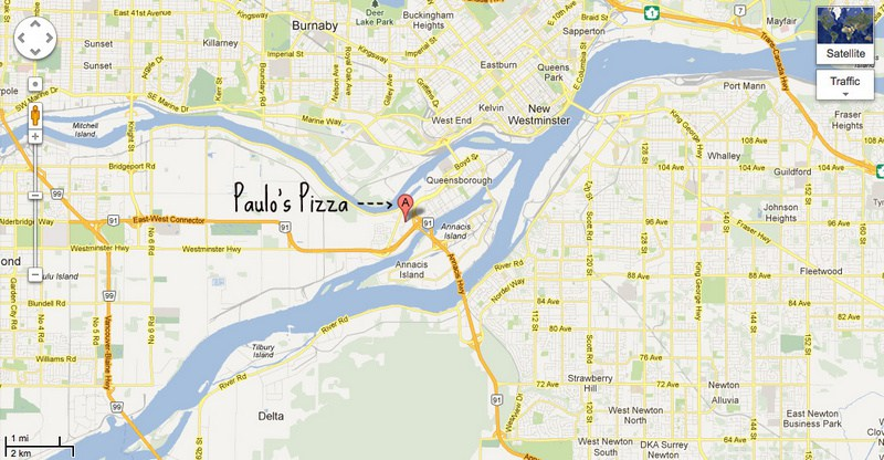 Paulo's Pizza on a Google map
