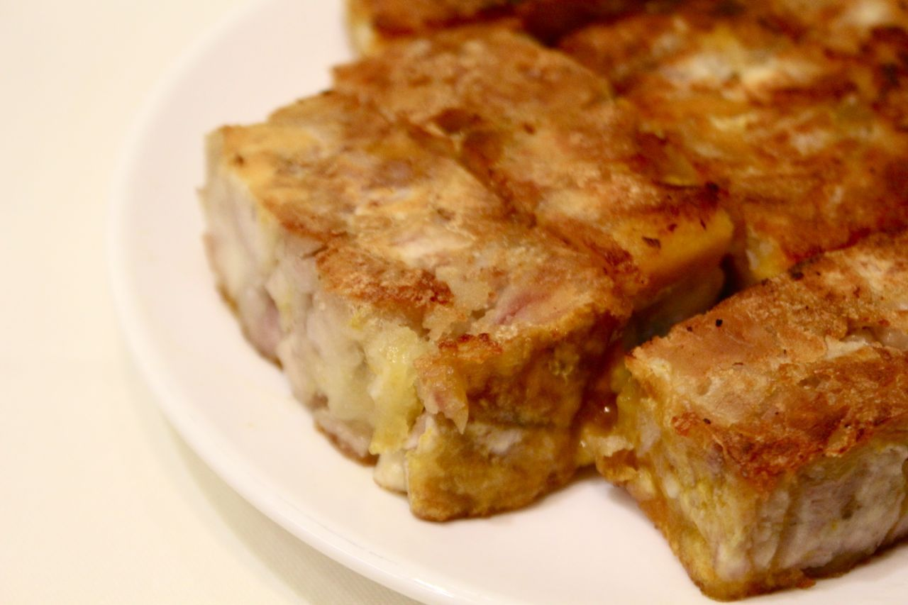 pan-fried taro cakes