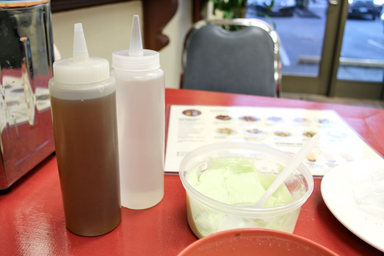 ginger syrup and plain syrup at Excellent Tofu and Snack