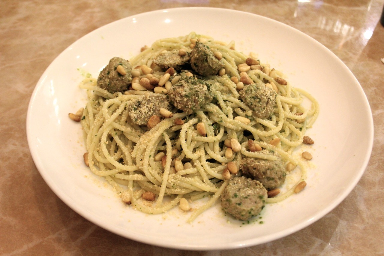 pasta with pesto, pine nuts and parmesan