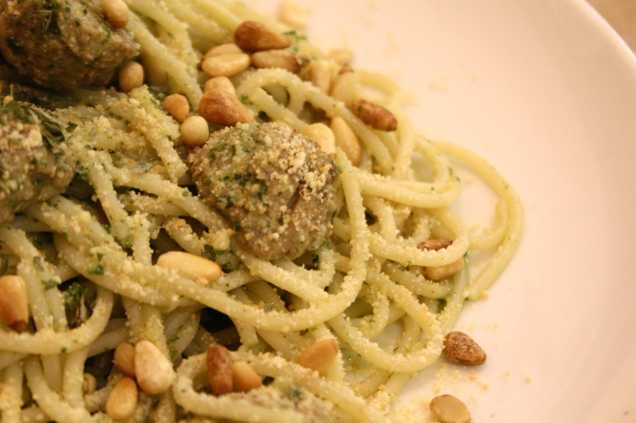 pasta with pesto, pine nuts, and parmesan