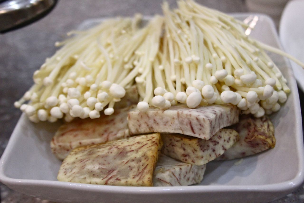 enoki mushrooms and taro