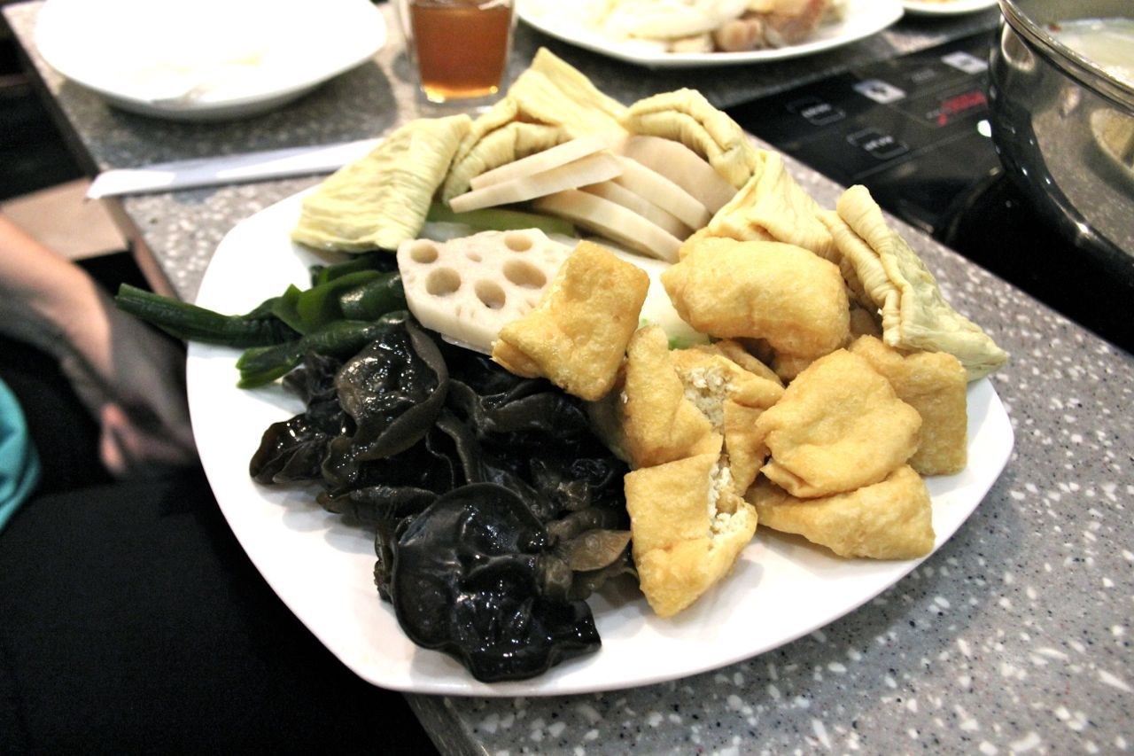 plate of lotus root, tofu puff, and black fungus