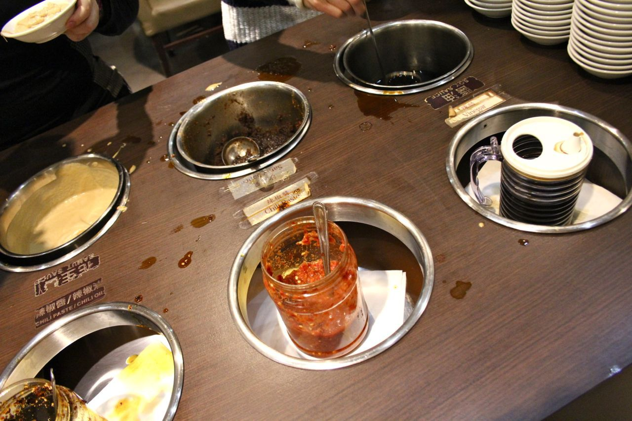 sauces at Mongolian hot pot