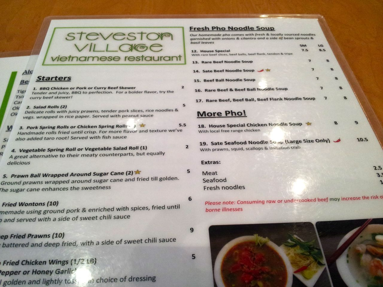 Steveston Village Vietnamese Restaurant menu
