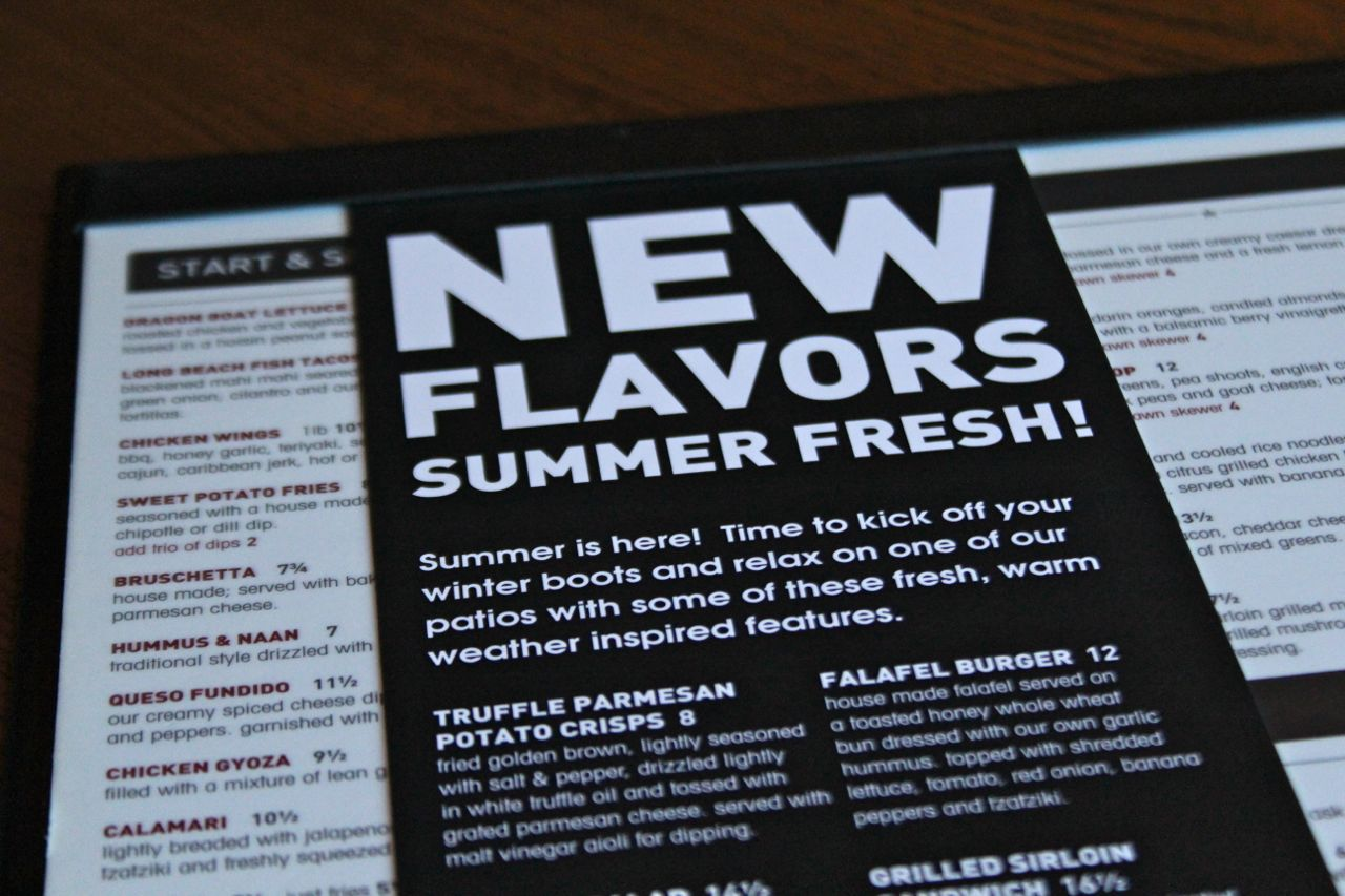 Original Joe's summer menu