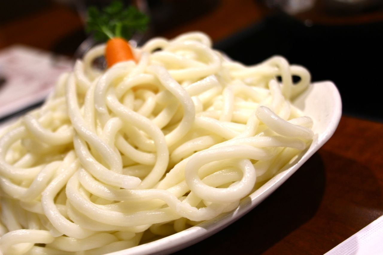 udon noodles at hot pot