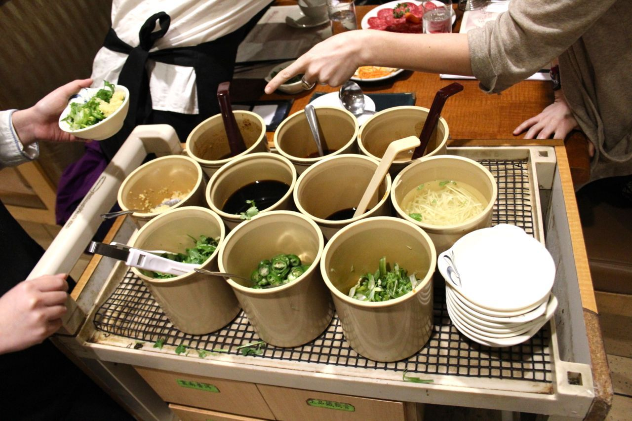 sauce cart at Garden City Hot Pot