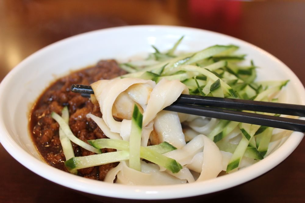 Cut noodles with meat sauce; Photo credit: Tara Lee