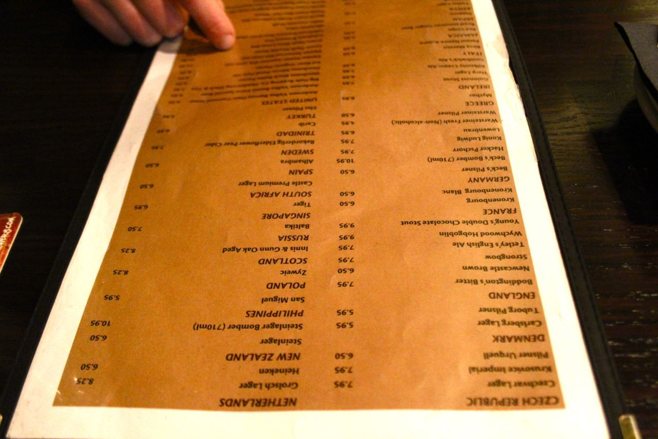 Fogg n Suds beer list