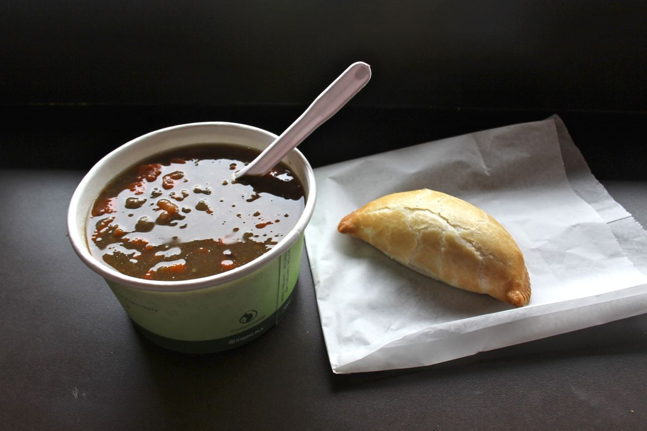 soup and curried chicken pocket