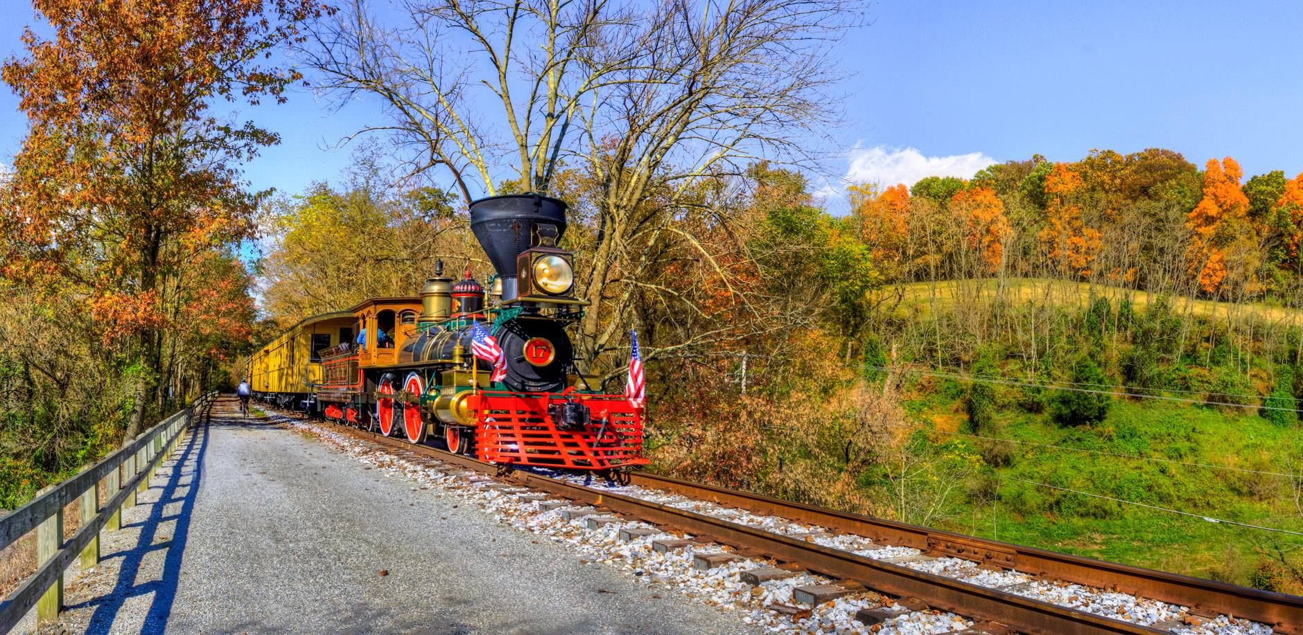 View the colors of fall from a replica Civil War-era steam engine. Photo by John Gensor.