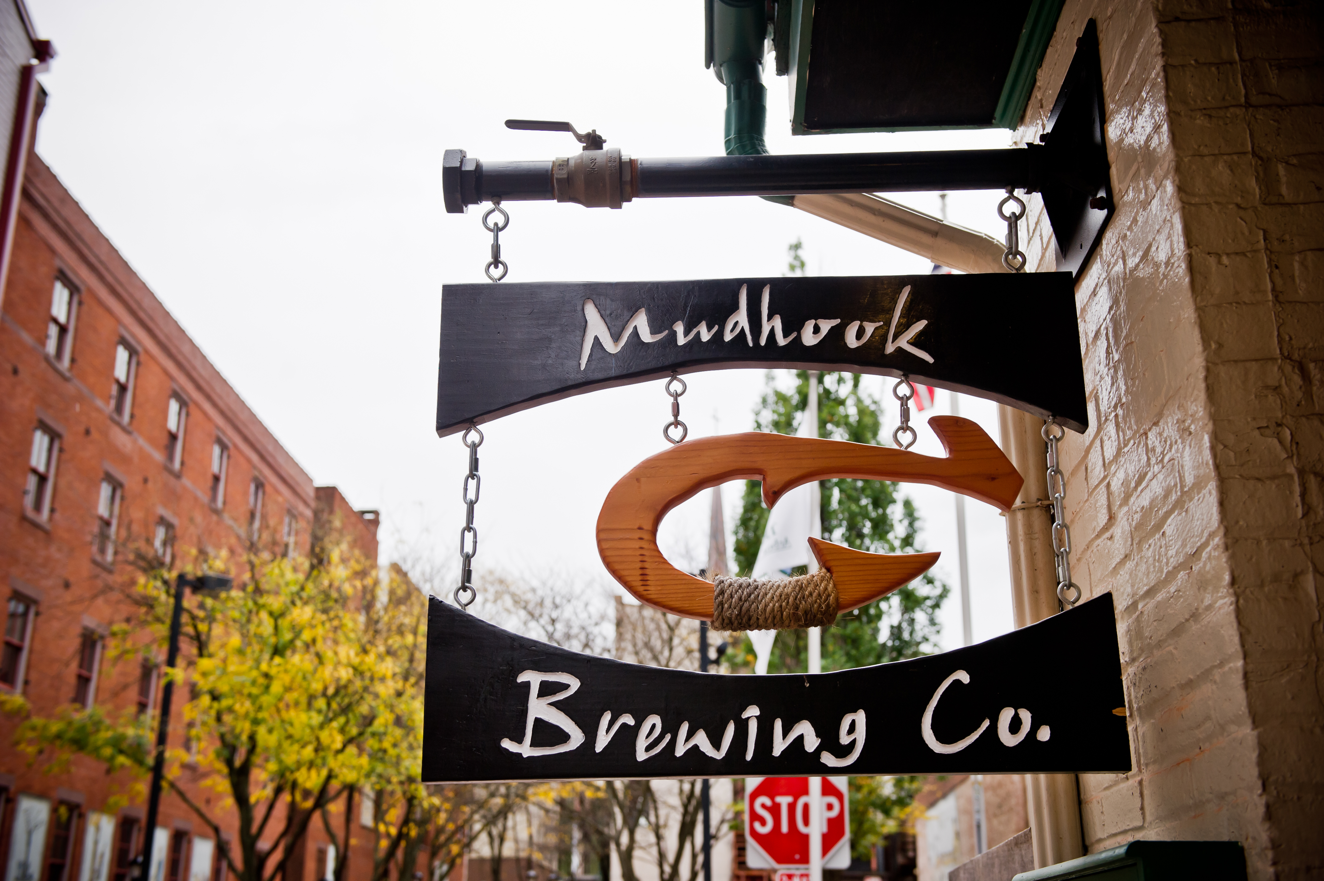 Mudhook Brewing Company sits on the corner of the old Clark Alley. You might spot The Imp here after having a few pints.