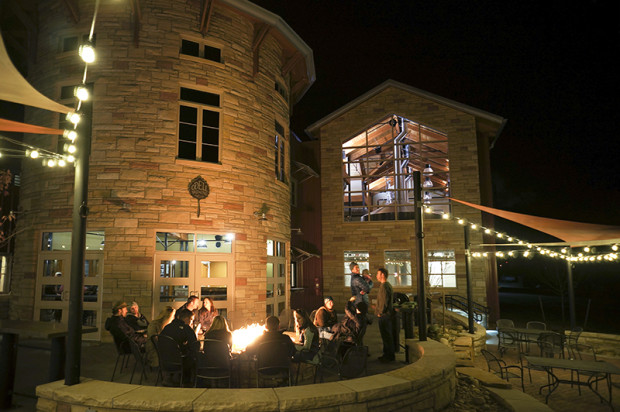 Odell Brewing, Patio fire pit, credit Odell Brewing Co